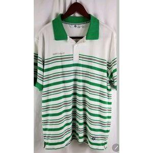 BMW Mens Polo Green White Striped xxl
